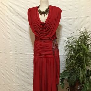 Vintage beaded exaggerated cowl neck dress